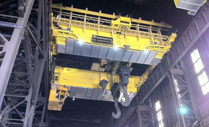 Demir çelik sektörü vinçlerinde yüksek kapasite ve yoğun kullanım