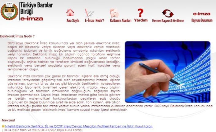 Türkiye Barolar Birliği e- imza nedir?