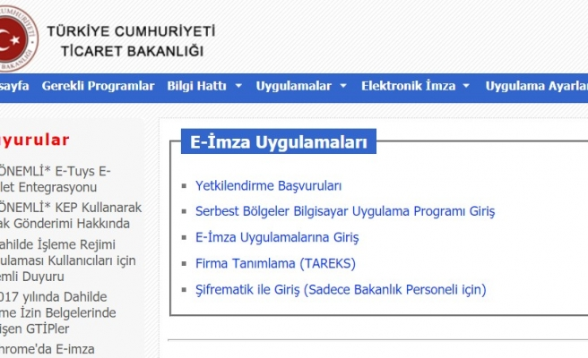 Ekonomi Bakanlığı E-İmza