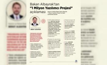 """Bakan Albayrak'tan """"1 Milyon Yazılımcı Projesi""""  duyurusu"""